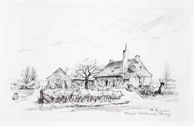 032736 - Tekening. Tekening van H Corvers van een boerderij aan de Nieuwe Goirleseweg thans Stappegoorweg