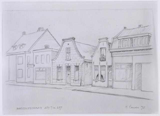 020596 - Tekening. Tekening van H. Corvers van de panden Hasseltstraat 287 tot en met 297, gelegen tussen de Goirkestraat en de Kwaadeindstraat