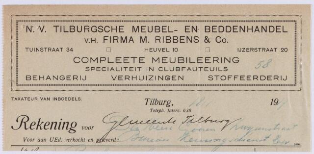 060967 - Briefhoofd. Nota van N.V. Tilburgsche Meubel- en beddenhandel v.h. Firma M. Ribbens & Co, Tuinstraat 34 - Heuvel 10 - Ijzerstraat 20 voor de gemeente Tilburg