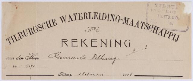 061250 - Briefhoofd. Nota van Tilburgsche Waterleiding-maatschappij voor de gemeente Tilburg