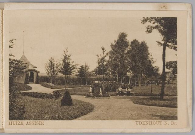 """078332 - Udenhout 1930: """"Huize Assisië"""". Gesticht voor mannelijke zwakzinnigen van den R.K. godsdienst. Tuin"""