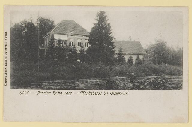 073941 - Hondsberselaan met Huize 'De Hondsberg'  een oude buitenplaats, met waterpartijen, bruggetje, kiosk, pension, restaurant, hotel en opvangtehuis voor slechtziende kinderen o.l.v. dr. Aussems.