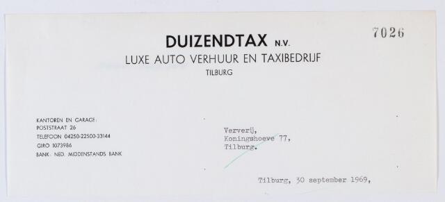 059991 - Briefhoofd. Briefhoofd van Duizend-Tax B.V., taxibrijf, Piusplein 23-24
