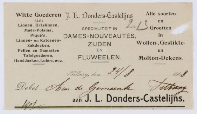059923 - Briefhoofd. Nota van J.L. Donders-Castelijns, Witte Goederen voor de gemeente Tilburg