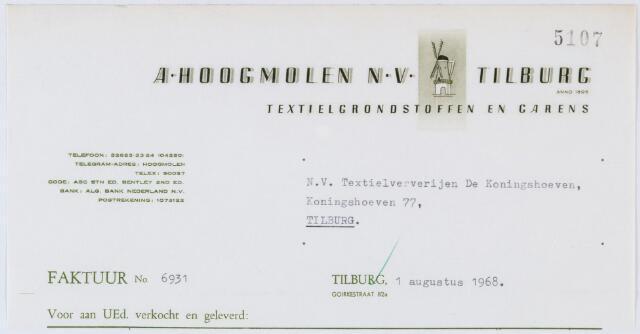 060317 - Briefhoofd. Nota van A. Hoogmolen N.V. , Textielgrondstoffen en Garens, Goirkestraat 82a, voor N.V. Textielververijen De Koningshoeven, Koningshoeven 77