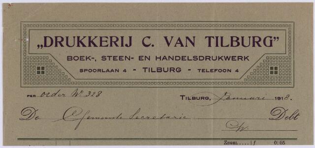"061224 - Briefhoofd. Nota van ""Drukkerij C. van Tilburg"", boek-, steen- en handelsdrukwerk, Spoorlaan 4 voor gemeente Tilburg"