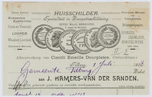 060242 - Briefhoofd. Nota van J. Hamers-van der Sanden, huisschilder,  voor de gemeente Tilburg