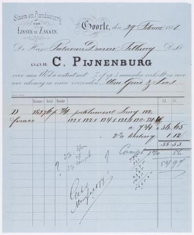 056276 - Briefhoofd. Factuur van de firma C. Pijnenburg, stoom- en handweverij van linnen en zakken te Goirle.