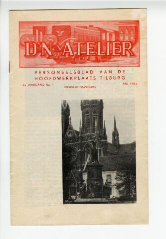 604309 - D´n Atelier, maandblad. Personeelsblad van de NS werkplaats te Tilburg,  Afbeelding op de omslag: Heuvelse kerk (voltooid in 1892) in het centrum van Tilburg.  Op de voorgrond staat de pastorie en daarvoor het bekende standbeeld van Koning Willem II.