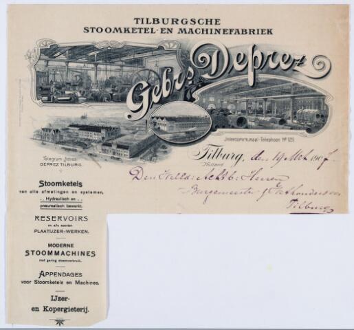 059900 - Briefhoofd. Nota van Gebrs. Deprez, Tilburgsche Stoomketel- en Machinefabriek voor de gemeente Tilburg