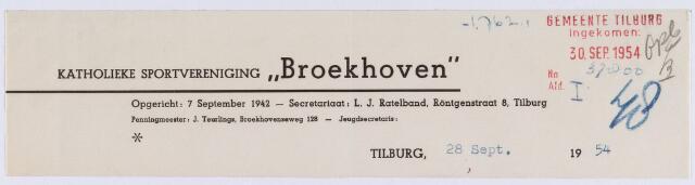 """061468 - Briefhoofd. Verenigingen. Briefhoofd van de Katholieke Sportvereniging """"Broekhoven"""", Röntgenstraat 8"""