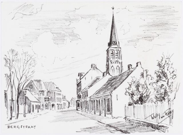 056183 - Tekening. De Bergstraat, tekening van Willy van Rooij uit de serie Goirle en omgeving.