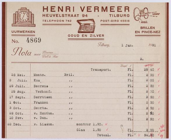 061320 - Briefhoofd. Nota van Henri Vermeer, brillen en pince-nez, Heuvelstraat 94