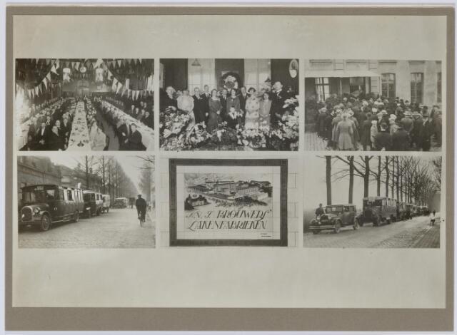 037558 - Textiel. Collage van foto genomen ter gelegenheid van de viering van het eeuwfeest van Brouwers Lakenfabrieken in 1928