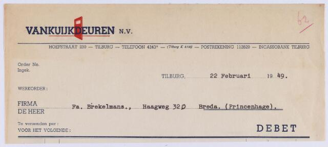 061278 - Briefhoofd. Nota van Vankuijkdeuren N.V., Hoefstraat 230 voor Fa. Brekelmans, Haagweg 320 te Breda (Princenhage)
