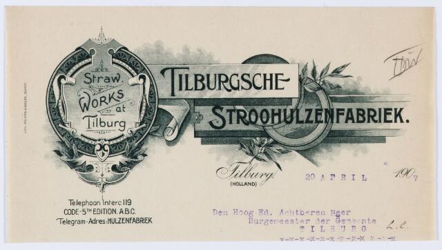 059838 - Briefhoofd. Briefhoofd van de Tilburgsche Stroohulzenfabriek