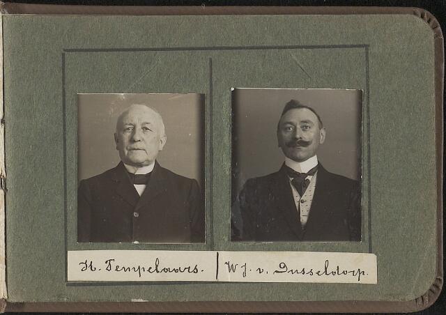 603955 - Links de heer H. Tempelaars, rechts W.J. van Dusseldorp. Albumblad met zogenaamde TipTop-pasfoto´s van het personeel van de gemeentesecretarie van Tilburg, omstreeks 1916.