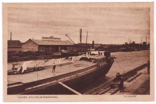 002745 - Aanlegplaats in het Wilhelminakanaal aan de Goirkekanaaldijk. Op de de zuidelijke oever de loods van de N.V. Hanze Stoomboot-Onderneming. De losplaats lag tussen de brug bij het Lijnsheike (nu Oude Lind) en die bij de Stokhasseltkerkstraat (nu Waalstraat).