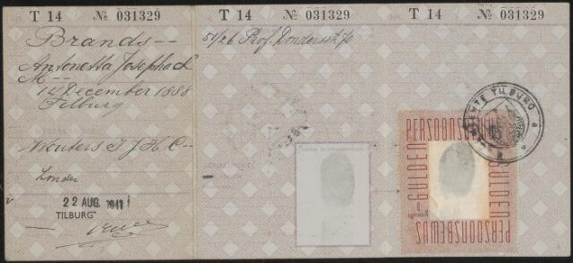 603922 - Persoonsbewijs (achterkant) van Antonette Josepha L.M. Brands. Zie nr. 603921