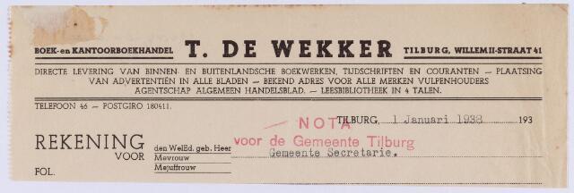 061412 - Briefhoofd. Nota van T. de Wekker, boek- en kantoorhandel, Willem-II-straat 41 voor de gemeente Tilburg