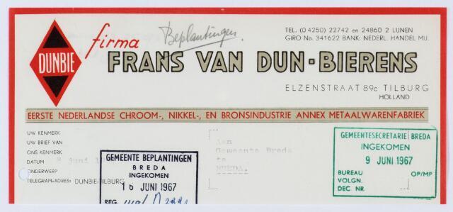 059996 - Briefhoofd. Briefhoofd van Frans van Dun-Bierens & Zonen, Eerste Tilburgsche Vernikkel- en chroomindustrie, Elzenstraat 89c