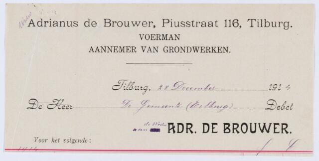 059776 - Briefhoofd. Nota van Adrianus de Brouwer, Piusstraat 116, Voerman, aannemer van grondwerken. voor de gemeente Tilburg