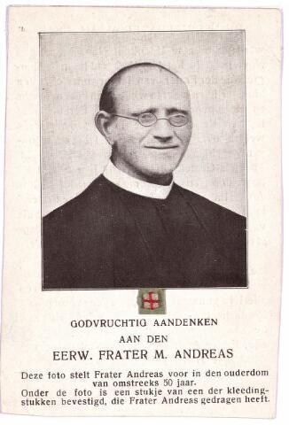 003686 - Frater ANDREAS geboren Udenhout 1841, overleden Tilburg 1917, kloosternaam van Johannes van den BOER.