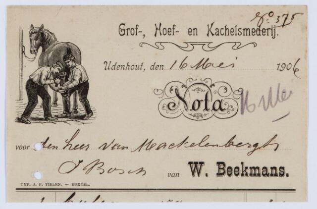 059537 - Briefhoofd. Briefhoofd van W. Beekmans, Grof-, Hoef- en Kachelsmederij te Udenhout
