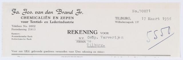 """059709 - Briefhoofd. Nota van Fa. Jos van den Brand Jr, chemicaliën en zepen voor Textiel- en Lederindustrie, Wilhelminapark 137 voor Coöp. Ververijen """"De Koningshoeven"""" aan de Koningshoeven 77"""