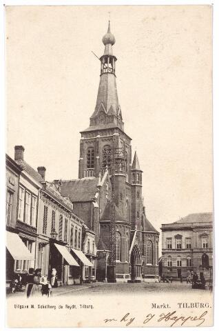 001845 - De Markt met kerk van het Heike en het voormalige gemeentehuis.