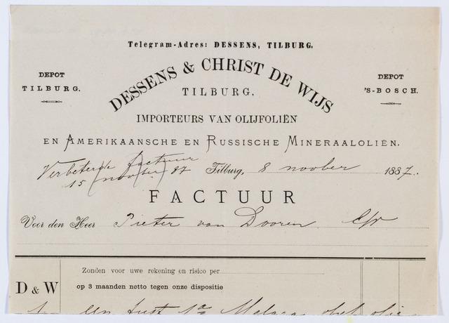 059906 - Briefhoofd. Nota van Dessens & Christ de Wijs, inporteurs van olijfoliën en Amerikaansche en Russische Mineraaloliën, voor Pieter van Dooren