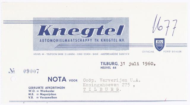 060488 - Briefhoofd. Nota van Knegtel Automobielmaatschappij Th. Knegtel N.V., Heuvelstraat 44 voor Coöp. Ververijen U.A.< Koningshoeven 275 Tilburg