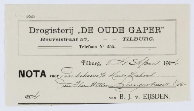 """060097 - Briefhoofd. Nota van Drogisterij """"De Oude Gaper """" B.J.  Van Eijsden, voorheen Firma P. v. Hassel, Heuvelstraat 183. voor v.d. Schoot"""