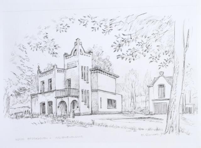 014627 - Tekening. Huize Broekhoven aan de Berglandweg naar een tekening van H. Corvers uit 1975