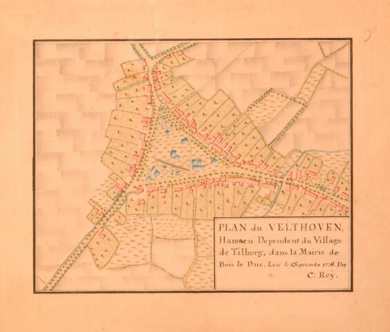 068662 - Kaart. Plan van de Veldhoven.  Fragment van de kaart van Diederik Zijnen uit 1760, gekopieerd in 1962 door archiefambtenaar Leo Langeweg.Plan van de Veldhoven.