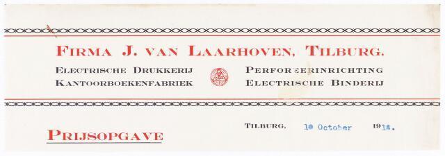 060539 - Briefhoofd. Briefhoofd van J van Laarhoven, Electrische drukkerij, kantoorboekenfabriek, boekdinderij en papierhandel, Wilhelminapark 7