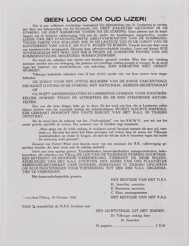 040884 - Textielstaking 1935. Pamfletten, Annonces, mededelingen in de Fakkel het orgaan van het nationaal arbeidssecretariaat, de textielarbeidersbond, de vereniging van Textielfabriekanten, inzake de staking van textielarbeiders op 13 september 1935.