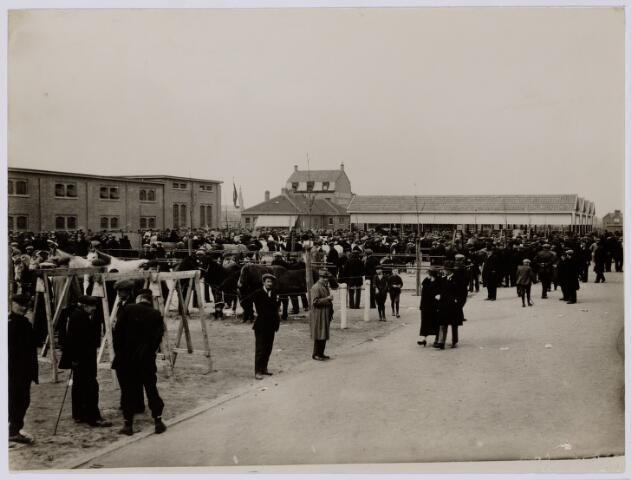 102025 - Overzicht van de veemarkt bij het nieuwe Gemeentelijk slachthuis (abattoir)    aan de Enschotsestraat. Links het nieuwe slachthuis, in het midden op de achtergrond café Abattoir aan de Enschotsestraat nr. 45
