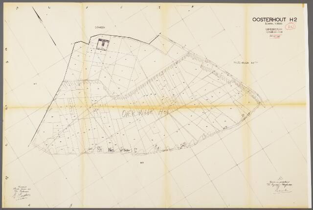 104965 - Kadasterkaart. Kadasterkaart / Netplan Oosterhout. Sectie H2. Schaal 1: 2.500.
