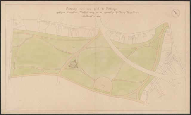 652525 - Ontwerp voor een park tussen de spoorweg naar Turnhout en de Rielseweg, ingekleurd. Tekening van Leonard Springer. Niet gesigeerd. Hoort bij secr. archief 1919/I 49.