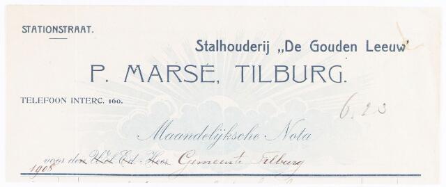 """060670 - Briefhoofd. Nota van Stalhouderij """"De Gouden Leeuw"""" P.Marsé, Stationstraat voor de gemeente Tilburg"""