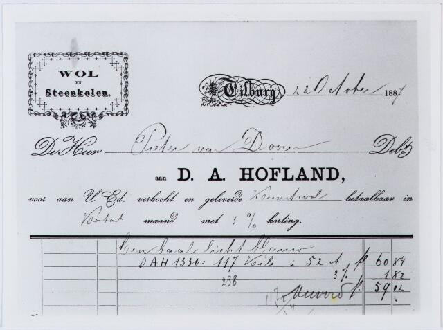 060304 - Briefhoofd. Nota van D.A. Hofland, Wol en Steenkolen, voor Pieter van Doorn te Tilburg