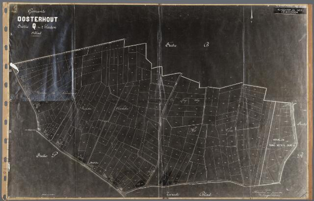 104873 - Kadasterkaart. Kadasterkaart Gemeenteplan 1959 Oosterhout Sectie Q1, Schaal 1 : 2.500