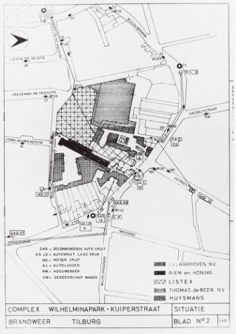 034857 - Kaart. Kaart van de brandweer Tilburg van het complex Wilhelminapark-Kuiperstraat, onder andere textielindustrie Thomas de Beer