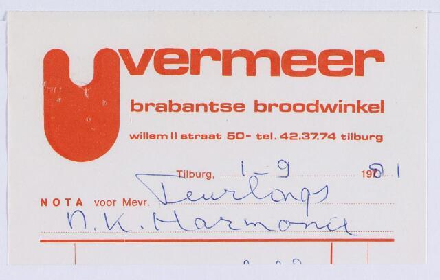 061316 - Briefhoofd. Nota van Vermeer Brabantse broodwinkel, Willem-II-straat 50 voor Nk Harmonie, Stationsstraat
