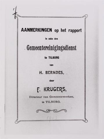 042274 - Riolering. Titelblad van een rapport met aanmerkingen op een eerder verschenen rapport inzake de Gemeentereinigingsdienst door directeur F. Krugers van Gemeentewerken