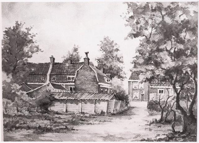 033264 - Aquarel. Aquarel van Niek Leenhouwers van het Tjeuke Timmermanspad, gelegen tussen de Kwaadeindstraat en Kuiperstraat. Het pad is genoemd naar de socialistische vakbondsman Tjeuke Timmermans.