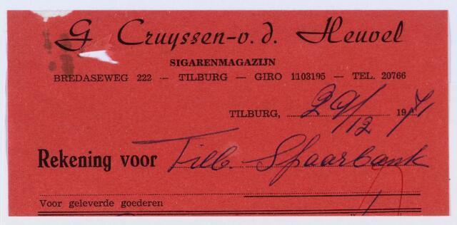 059873 - Briefhoofd. Sigarenwinkels. Briefhoofd van de Firma G. Cruijssen-Van de Heuvel, sigarenmagazijn.