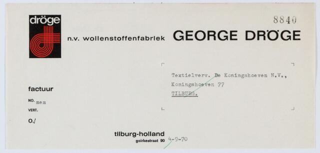 059978 - Briefhoofd. Briefhoofd van N.V. Wollenstoffenfabriek George Dröge, Goirkestraat 90