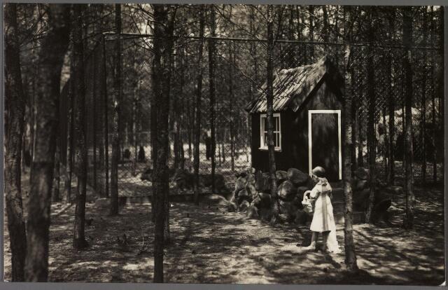 010849 - Dierentuin. Wolvenverblijf met roodkapje en het huisje van haar grootmoeder in Burgers Dierenpark aan de Bredaseweg.